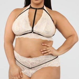 Plus Size Lingerie 3pc Bralette Panty & Harness